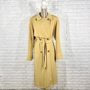 Vintage 80s Utex Yellow Belted Trench Coat